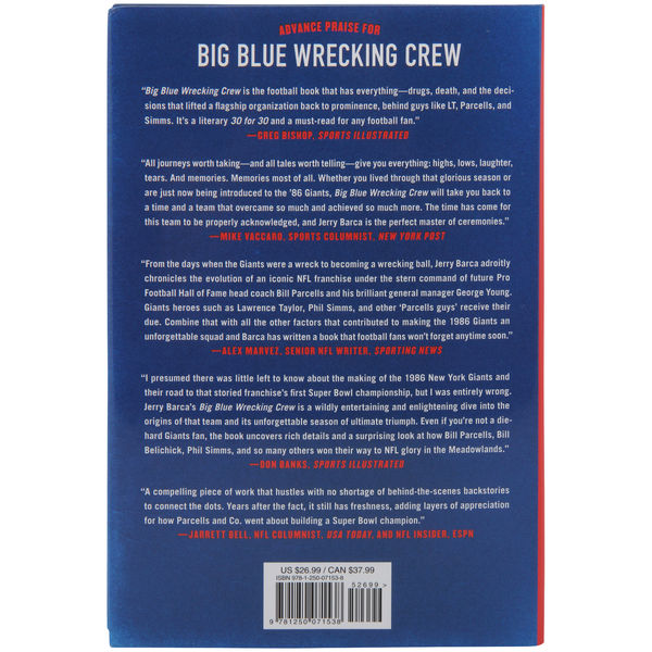 Big Blue Wrecking Crew by Jerry Barca - back cover