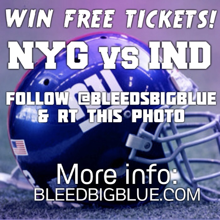 Win Free tickets to Giants vs Colts