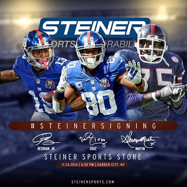 MEET New York Giants Victor Cruz, Odell Beckham Jr., and George Martin 11/24 courtesy of Steiner Sports.