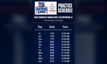 New York Giants Announce 11 open training camp practices for 2016