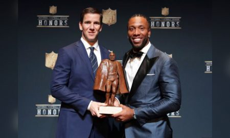 Eli Manning shares Walter Payton Man of the Year Award