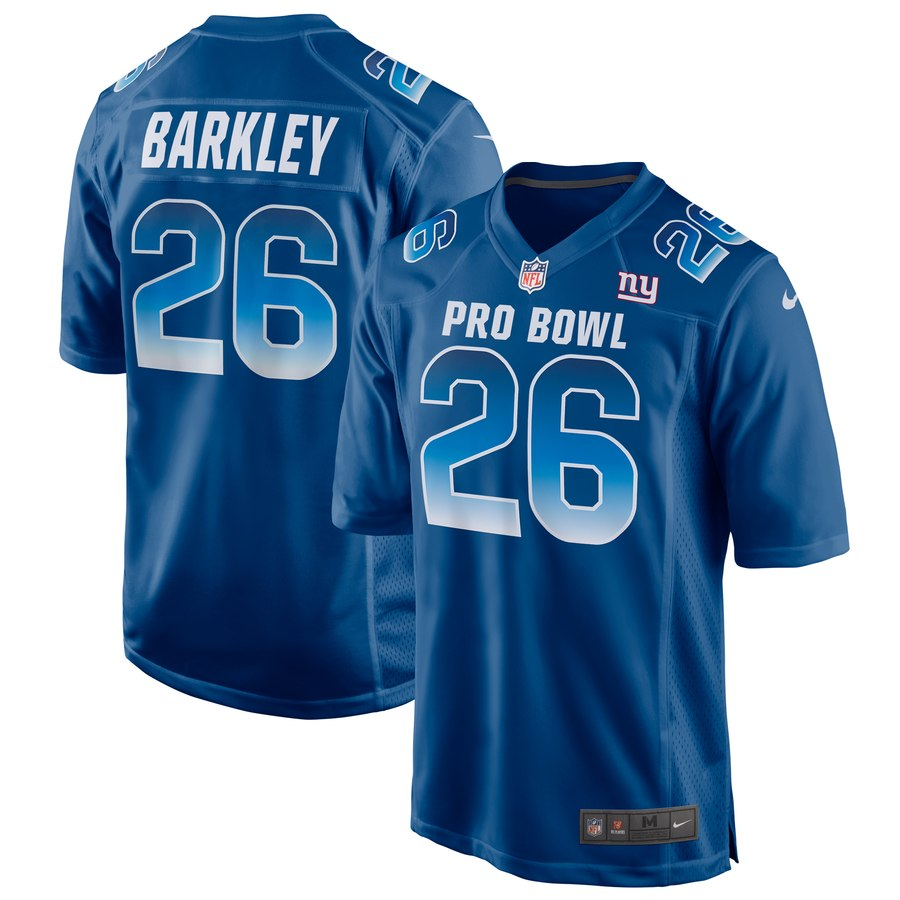 Men's Nike Saquon Barkley Royal NFC 2019 Pro Bowl Game Jersey